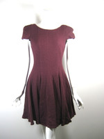 TIBI NEW YORK Burgundy Wool Cap Sleeve Dress Size Small