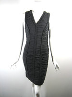 ROBERT RODRIGUEZ Gray Pleated Ruched Cocktail Dress Size Medium