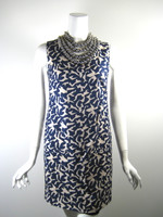 DVF DIANE VON FURSTENBERG Blue NORALIE Silver Ball Neck Cocktail Dress Size 4