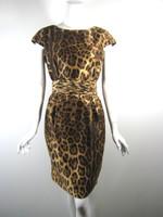 PER SE Leopard Print Silk Cap Sleeve Cocktail Dress Size 6