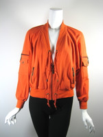 MIKE GONZALEZ Orange Zip Front Athletic Yoga Workout Jacket Size Small