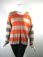 C&C CALIFORNIA Red Tan Striped Pull Over Sweater Medium