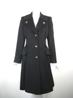 AUTHENTIC CELINE PARIS Black Angora Wool Gold Button Front Coat Jacket Size 36