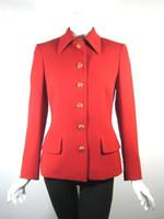 AUTHENTIC CELINE PARIS Red Gold Button Front Blazer Suit Jacket Size 34/36