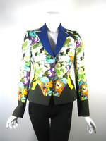 ETRO MILANO Floral Print Silk Blazer Jacket Size 42
