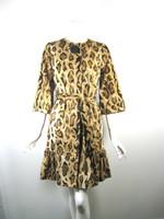 BETH BOWLEY Leopard Print Belted Coat Jacket Size 4