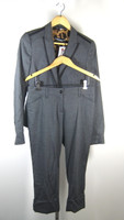 DOLCE & GABBANA Gray Long Sleeve Crop Jacket & Pant Suit Size 40