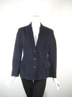 JIL SANDER Navy Blue Leather Jacket Coat Size 38