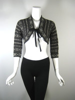 MOSCHINO Black Print 3/4 Sleeve Crop Tie Front Cardigan Sweater Size 42/8