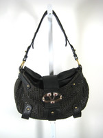 VALENTINO GARAVANI Brown Black Woven Shoulder Handbag Wooden Jeweled V Clasp