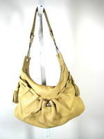 AUTHENTIC GIVENCHY Tan Leather Hobo Shoulder Handbag With Tassels