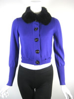 NANETTE LEPORE Purple Rabbit Fur Collar Long Sleeve Cardigan Sweater Size Small