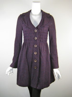 NANETTE LEPORE Purple Knee Sweater Length Coat Size Small