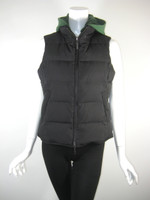 VINCE Black Green Quilted Puffer Down Vest With Hood Size L