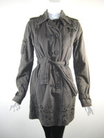 DA-NANG Gray Cotton Long Sleeve Belted Coat Jacket Size Small