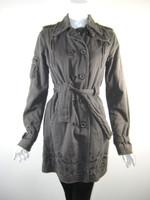 DA-NANG Gray Cotton Long Sleeve Belted Coat Jacket Size Small