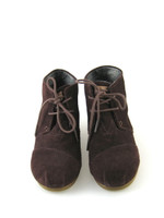 TOM'S Brown Suede Lace Up Wedge Ankle Bootie Size 7.5