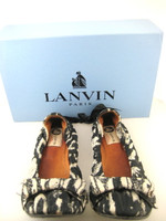 LANVIN Ivory Black Printed Suede Ballerina Flat Size 40 IN BOX