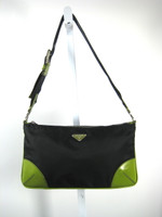 AUTHENTIC PRADA Black Nylon Green Leather Trim Shoulder Handbag