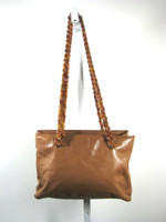 AUTHENTIC PRADA Tan Leather Plastic Chain Handle Straps Handbag