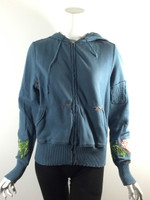 DA-NANG Blue Embroidered Hooded Sweatshirt Size Small