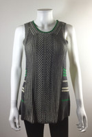 CABI Gray Green Print Sleeveless Tunic Sweater Size Small