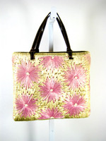 KATE SPADE Tan Pink Floral Straw Shoulder Handbag