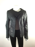 PROVIDER Dark Greenish Blue Open Front Leather Jacket Size 42