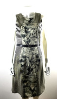 TRACY REESE Ivory Black Striped Tree Print Belted Dress Size 8