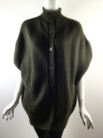 VINCE Dark Green Wool Cashmere Waffle Short Sleeve Sweater Jacket Size Medium