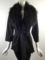 LUII Black Fur Collar 3/4 Sleeve Belted Jacket Size Medium