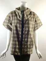 ANAGRAM Brown Plaid Short Sleeve Jacket Size 4