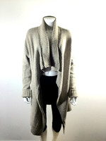 CABI Oatmeal Tan Open Front Long Cardigan Sweater Size Medium