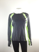 SWEATY BETTY Gray Green Long Sleeve Athletic Yoga Top Tee Size 1
