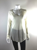 JUDE Ivory Long Sleeve Crochet Sweater Size Medium $97