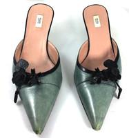 AUTHENTIC PRADA Blue Leather Slide Kitten Heel Size 37.5