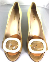 AUTHENTIC PRADA Brown Ivory Patent Leather Ombre Buckle Heel Pump Size 37.5