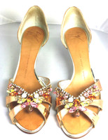 AUTHENTIC GIUSEPPE ZAMOTTI DESIGN Bronze Jeweled Pump Heel Size 37.5