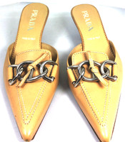 AUTHENTIC PRADA Tan Leather Slip On Kitten Heel Slide Pump Size 37.5