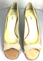 AUTHENTIC PRADA Tan Sequin Peep Toe Pump Heel Size 37.5