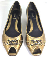 AUTHENTIC FENDI Metallic Gold Chain Peep Toe Flat Size 37.5