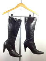 AUTHENTIC PRADA Black Leather Buckled Knee High Boot Size 37.5