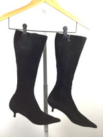 AUTHENTIC PRADA Black Suede Kitten Heel Knee High Boot Size 37.5