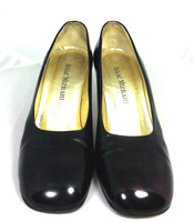 AUTHENTIC ISAAC MIZRAHI Black Patent Leather Round Toe Pump Heel Size 7.5B