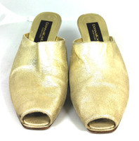 AUTHENTIC DONNA KARAN Gold Leather Peep Toe Slide Pump Heel Size 7.5