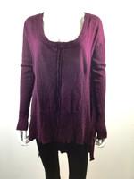 FREE PEOPLE Burgundy Scoop Neck Tunic Sweater Size Medium