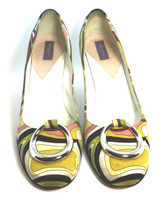 AUTHENTIC EMILIO PUCCI Satin Multi Print Round Toe Pump Heel Size 37.5