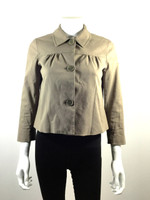 THEORY Brown 3/4 Sleeve Cropped Cotton Jacket Size 2