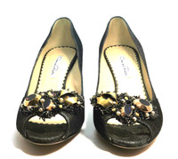 AUTHENTIC OSCAR DE LA RENTA Metallic Leather Jeweled Peep Toe Pump Size 37.5