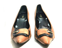 AUTHENTIC FENDI Brown Black Patent Leather Buckled Pump Heel Size 37.5
